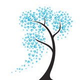 The euro tree. Euro fly around in the wind. Vector illustration Royalty Free Stock Photos
