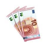 Euro trenta in pacco delle banconote su bianco Fotografie Stock Libere da Diritti