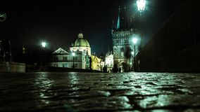 Euro-trip. Czech Republic. Prague, the night prague. Photo from the bridge.photo created from the bottom Royalty Free Stock Photo