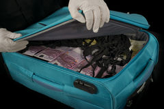 Euro in the trolley. A trolley full of euro discovered by police Stock Photography