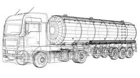 Euro Truck Cistern illustration. Vector. Tracing illustration of 3d. EPS 10 vector format.  stock illustration