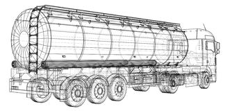 Euro Truck, Oil trailer. Gasoline tanker. Created illustration of 3d. Wire-frame. Euro Truck, Oil trailer. Gasoline tanker. Created illustration of 3d. Wire vector illustration
