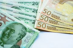 Euro and turkish lira royalty free stock photo