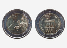 Euro twee & x28; EUR& x29; muntstuk van San Marino Stock Foto