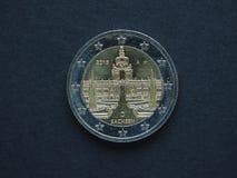 2 Euro- u. x28; EUR& x29; Münze, Währung der Europäischer Gemeinschaft u. x28; EU& x29; Stockfotografie