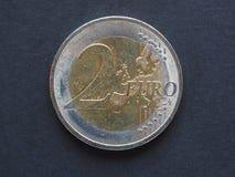 2 Euro- u. x28; EUR& x29; Münze Stockfotos
