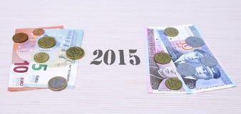 Euro uitwisseling 2015 van de Litsomschakeling januari van de muntstukkenbankbiljetten van Litouwen Stock Foto