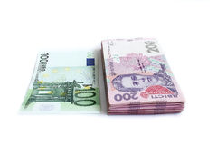 Euro and the Ukrainian grivnas Stock Images