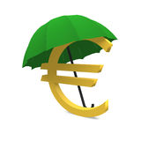 Euro and umbrella. Euro sign is covered by an umbrella Stock Images