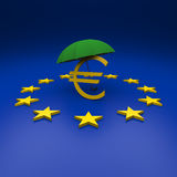 Euro and umbrella Stock Photos