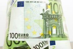 Euro in un pacchetto trasparente Fotografia Stock Libera da Diritti