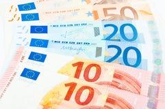 10 Euro 20 und 50 Stockfotos