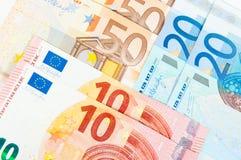 10 Euro 20 und 50 Lizenzfreie Stockfotos
