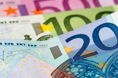 Euro 20, 100 und 500 Stockfotografie