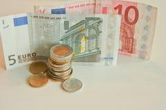 Euro und Bargeld Stockfoto