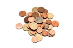 Euro- und Centmünzennahaufnahme Stockfoto