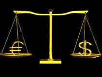 Euro und Dollar auf Schwerpunkt Stockbild