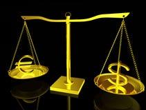 Euro und Dollar auf Schwerpunkt Stockfotos