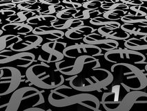 Euro und Dollar des Symbols 3d Stockfotos