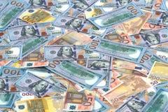 Euro- und Dollarbanknoten als Hintergrund Lizenzfreies Stockfoto