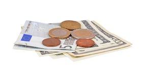 Euro- und Dollargeld Lizenzfreies Stockfoto