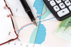 Euro und Füllfederhalter Lizenzfreies Stockfoto