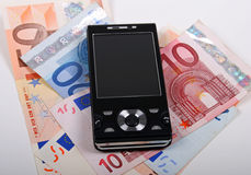 Euro und Handy Stockbild