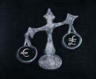 Euro und Pfund Stockfotos