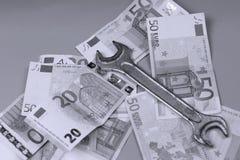 Euro- und Pfundhintergrund Stockbild
