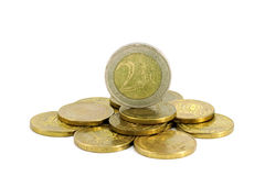 Euro- und russische Rubel Stockbild