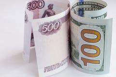 Euro- und russisches Geld Stockbild