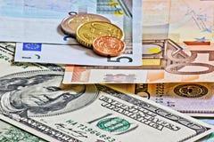 Euro- und tschechisches Geld der Dollar Stockfoto