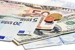 Euro- und tschechisches Geld der Dollar Lizenzfreies Stockfoto