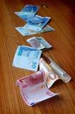Euro- und unterschiedliches Geld Stockfoto