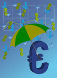 Euro under umbrella. Euro is closed by umbrella from falling dollars Royalty Free Stock Photo