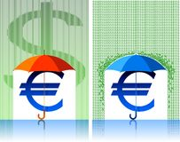 Euro under umbrella Stock Images