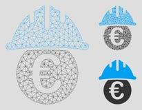 Euro under vektorn Mesh Wire Frame Model för säkerhetshjälm och mosaisk symbol för triangel stock illustrationer
