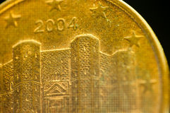 1 euro union Castel del Monte de l'Europe de détail de pièce de monnaie de cent Images libres de droits