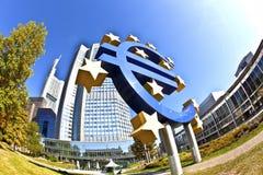 EURO unterzeichnen Sie herein Frankfurt lizenzfreie stockbilder