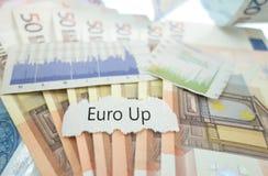 Euro Up news. Headline on Euro notes Stock Photos