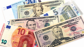 Euro and us banknotes mix. Original photo euro and dollars banknotes mix royalty free stock photos