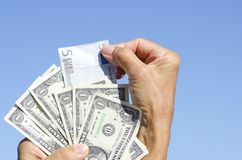 Euro and US dollar bank notes III Stock Photography