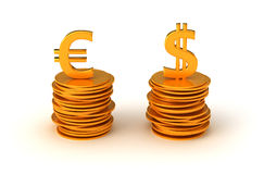 Euro and US dollar Currency equation Stock Photos