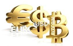 Euro-US-Dollar 3d Bitcoin Wiedergabe sybol golden Lizenzfreie Stockfotografie