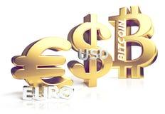 Euro-US-Dollar 3d Bitcoin Wiedergabe sybol golden Lizenzfreie Stockfotos