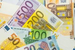 Close-Up of american US dollars and euros royalty free stock photos