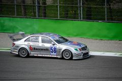 Euro V8 Reeks Mercedes C63 AMG in Monza Stock Foto's