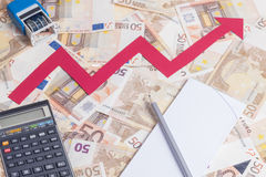 Euro value increasing Stock Photo