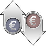 Euro Value Indicators. A 3d illustration showing arrows indicating the increasing or decreasing value of a Euro, isolated on a white background Royalty Free Stock Photo