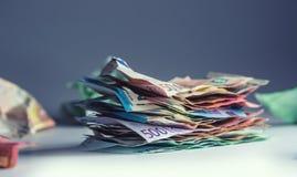 Euro valuta dell'euro delle banconote degli euro soldi Bankno euro sciolto di menzogne Immagini Stock